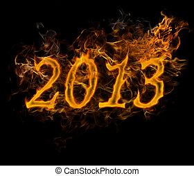 New Year 2013 text  made of fire