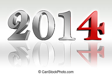 new year 2014 3d text metal and red four number. clipping...