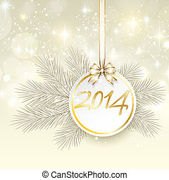 new year 2014 banner with ribbon and bow vector