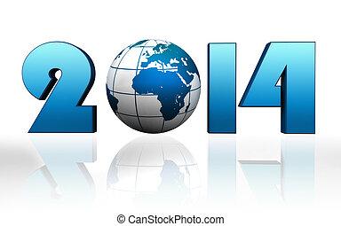 new year 2014 blue globe