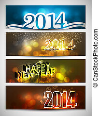New year 2014 bright colorful four headers and banners set...