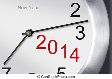 New year 2014 concept, clock closeup on white background.