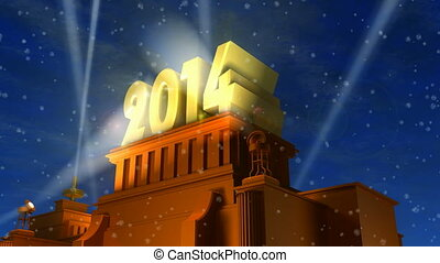 Creative New Year 2014 celebration concept: shiny golden 2014 text on pedestal at night with snow in cinema style