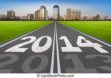 """""""New Year 2014 concept"""", road with modern city."""