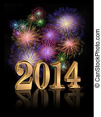 New Year 2014 digital fireworks