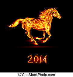 New Year 2014: fire horse. - New Year 2014: running fire...