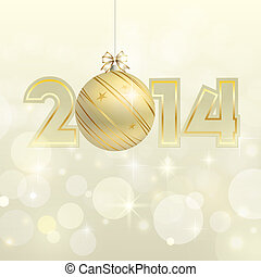 New year 2014 gold vector banner