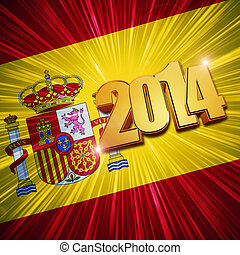 new year 2014 golden figures over shining Spanish flag