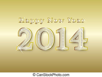 new year 2014  golden with diamonds