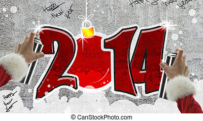 New year 2014 graffiti on concrete wall