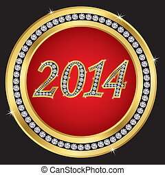 New year 2014 icon, golden with diamonds, vector