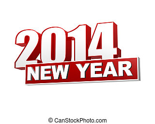 new year 2014 in 3d red figures and block - new year 2014 in...