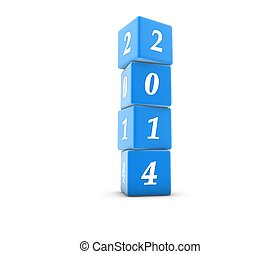 New Year 2014 in blue cube