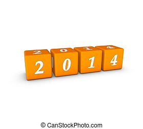 New Year 2014 in orange cube