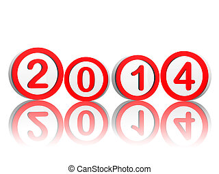 new year 2014 in red circles