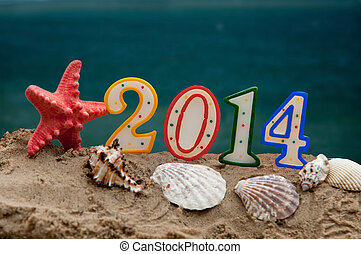 new year 2014 letters with starfish and shells