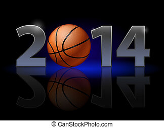 New Year 2014: metal numerals with basketball instead of...