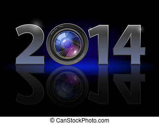 New Year 2014: metal numerals with camera lens instead of ...