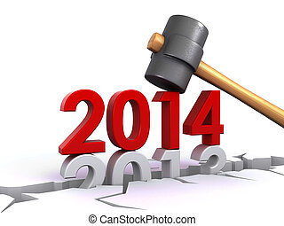 new year 2014 - New year 2014 hammering down the old 2013 (...