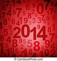 New year 2014 on numbers fabric background