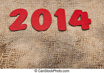 new year 2014 on old burlap