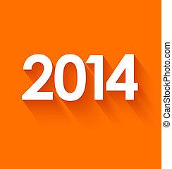New year 2014 on orange background