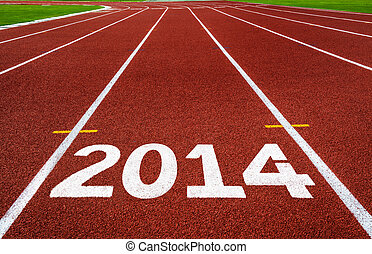 New Year 2014 on running track concept.