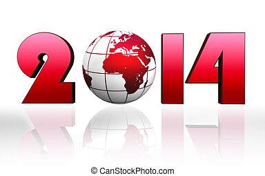 new year 2014 red globe