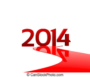 New year 2014 - 3D illustration - Here comes the new year...