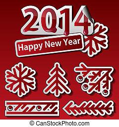 New Year 2014 symbols set