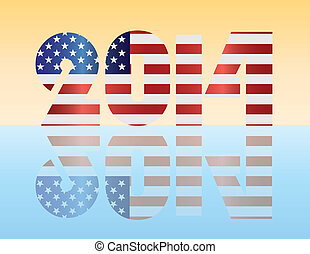 New Year 2014 USA Flag Illustration