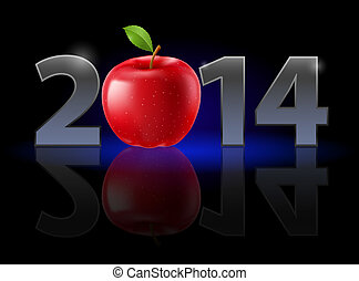 New Year 2014: metal numerals with red apple instead of zero...