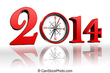 new year 2014 with compass