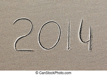 new year 2014 written in sand