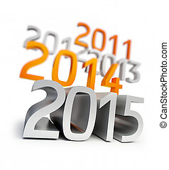 new year 2015. 3d Illustrations on a white background