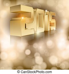 New Year 2015 - Abstract background with gold numbers 2015.