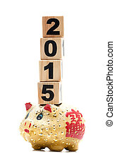 New Year 2015 and piggy bank