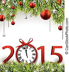 Winter new year background with spruce twigs and red baubles. Christmas vector frame. Eps10.