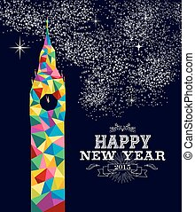 New year 2015 England poster design