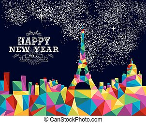 New year 2015 France poster design