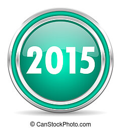 new year 2015 green glossy web icon - green glossy web icon