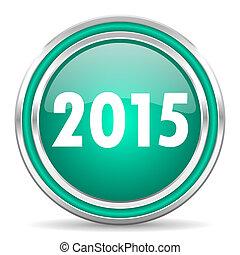 new year 2015 green glossy web icon - green glossy web icon