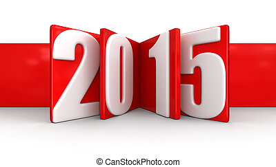 New Year 2015. Image with clipping path.