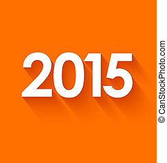 New year 2015 in flat style on orange background