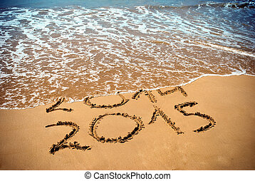 New Year 2015 is coming concept - inscription 2014 and 2015...