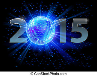New Year 2015: metal numerals with disco ball instead of...