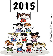 new year 2015 mixed ethnic children