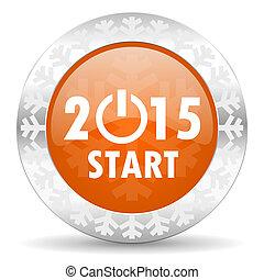 new year 2015 orange icon, christmas button, new years symbol