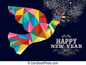 New Year 2015 peace dove card