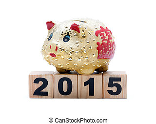 New Year 2015: piggy bank and buil